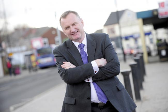 Sean Hornby in Little Lever. Sean Hornby is standing for UKIP in the upcoming General Elections. Photo by Nigel Taggart, Newsquest (Bolton) Ltd, Tuesday March 24, 2015.