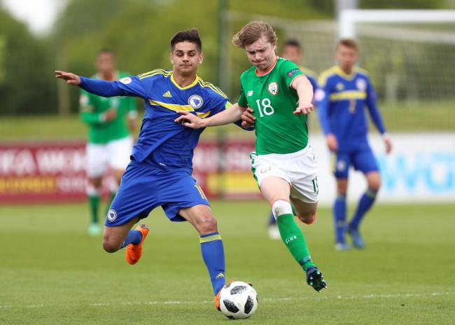 Luca Connell in action for the Ireland Under-19s