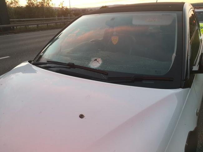 A car damaged by children throwing stones on the M66. Picture: North West Motorway Police