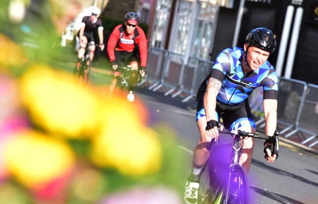Cyclists during the Emerson cycle race on Saturday evening as part of the Horwich Festival of Racing.