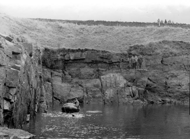 Today's picture from The Bolton News archives shows a group of divers carrying out a search of the Wolstenholme Bronze Powders Works reservoir at Dunscar in 1972 to look for a Blackburn Skua.carrier-borne, fighter-dive-bomber which crashed into the lo